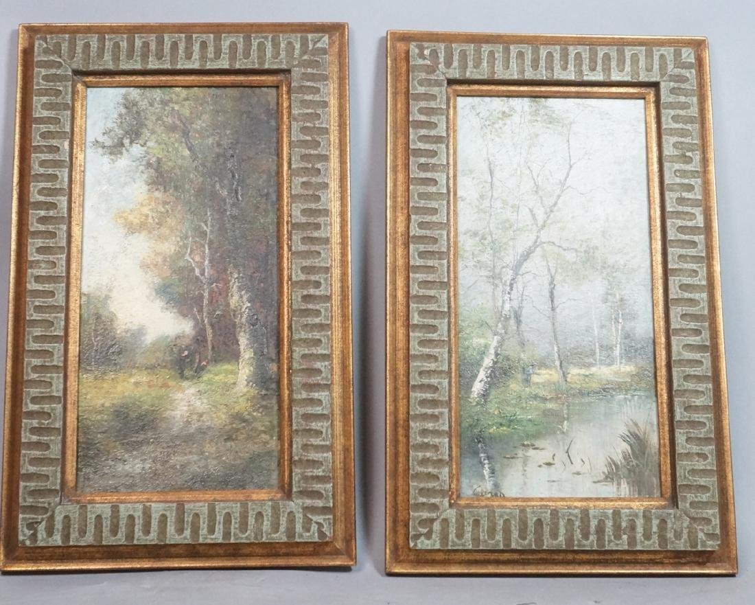 2pc Oil Paintings Landscapes. 1) Signed CARON? Sc