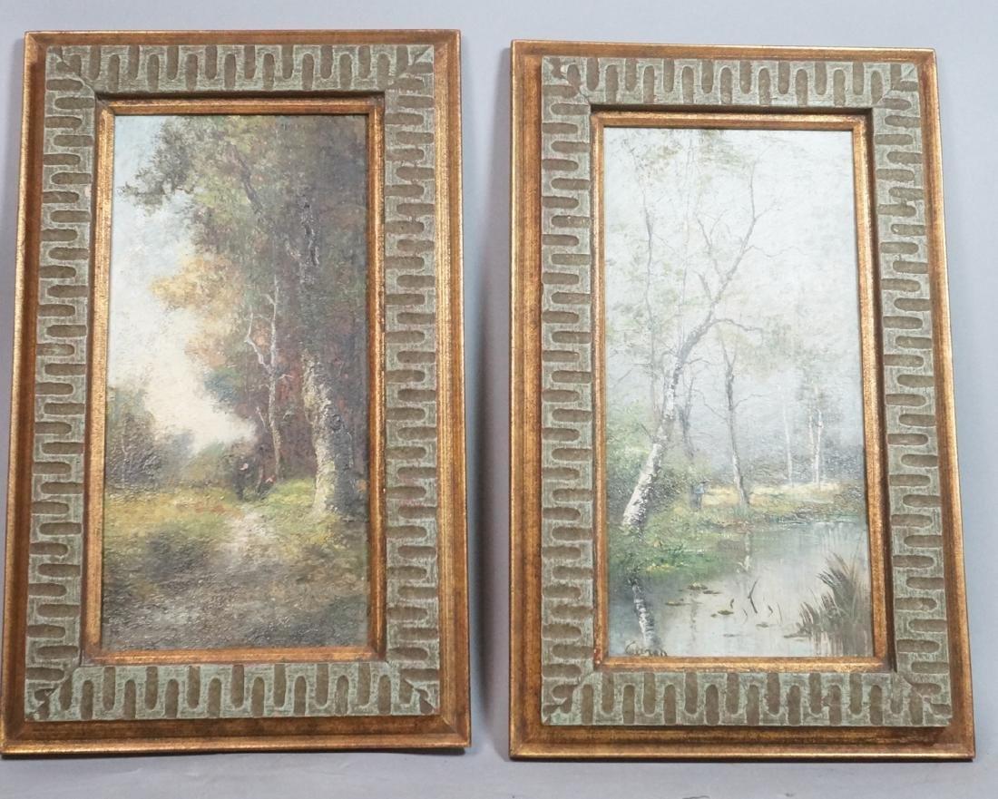 2pc Oil Paintings Landscapes. 1) Signed CARON? Sc
