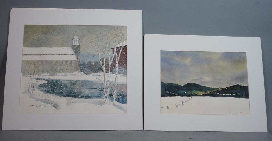 "2pc RUTH B. MINAS Watercolor Landscapes. 1) ""New"