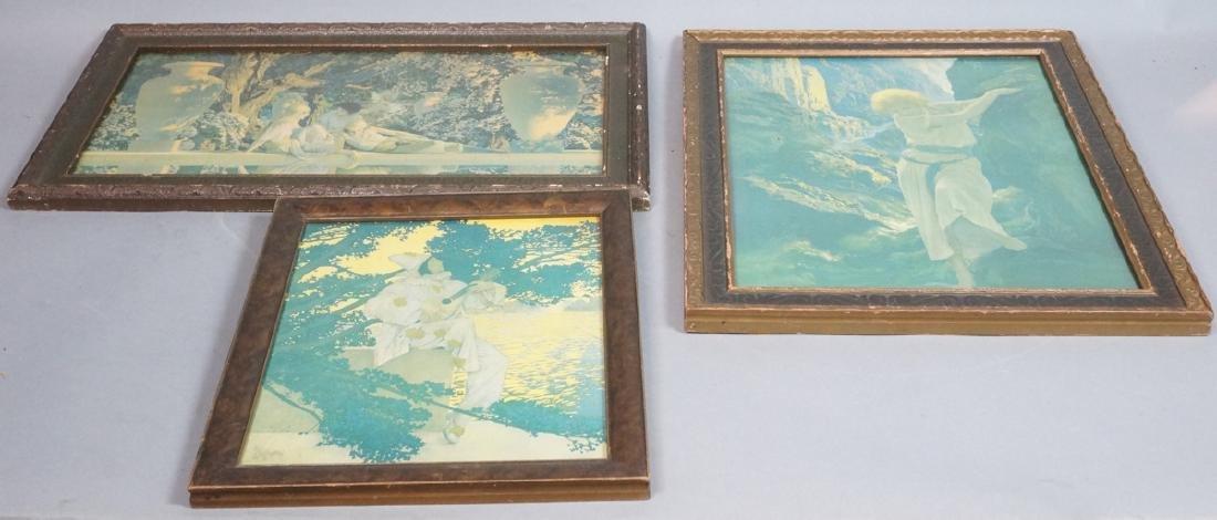 """3 MAXFIELD PARRISH Prints. Vintage Frames. """"Garde"""