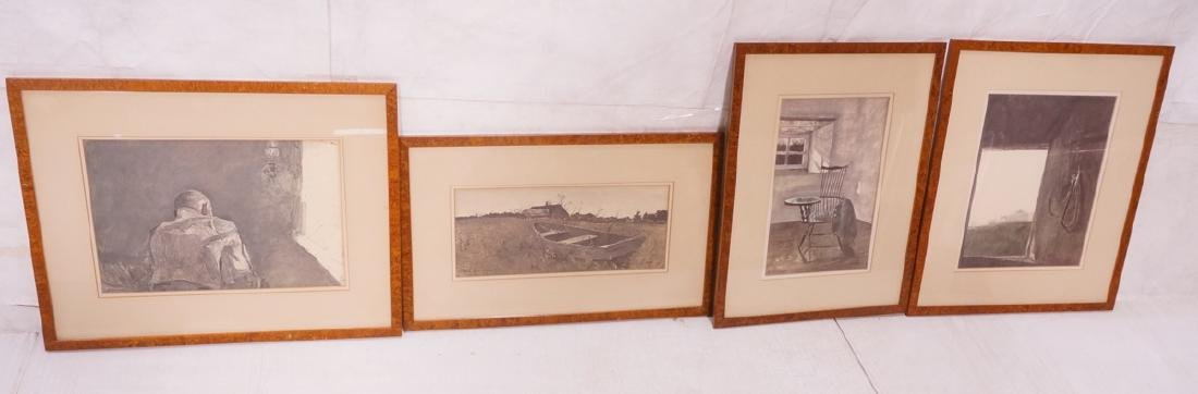 4 framed ANDREW WYETH Prints. Signature in print,