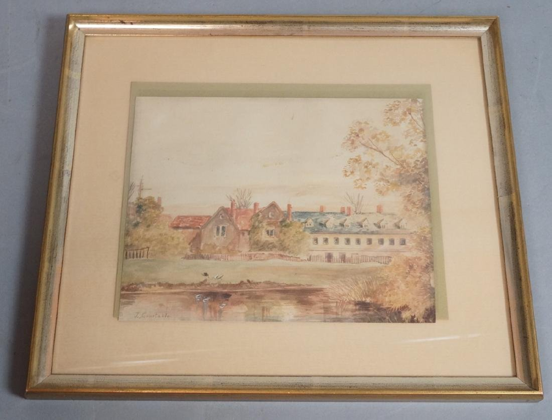 J. CONSTABLE Watercolor Manor Scene. Waterfront l