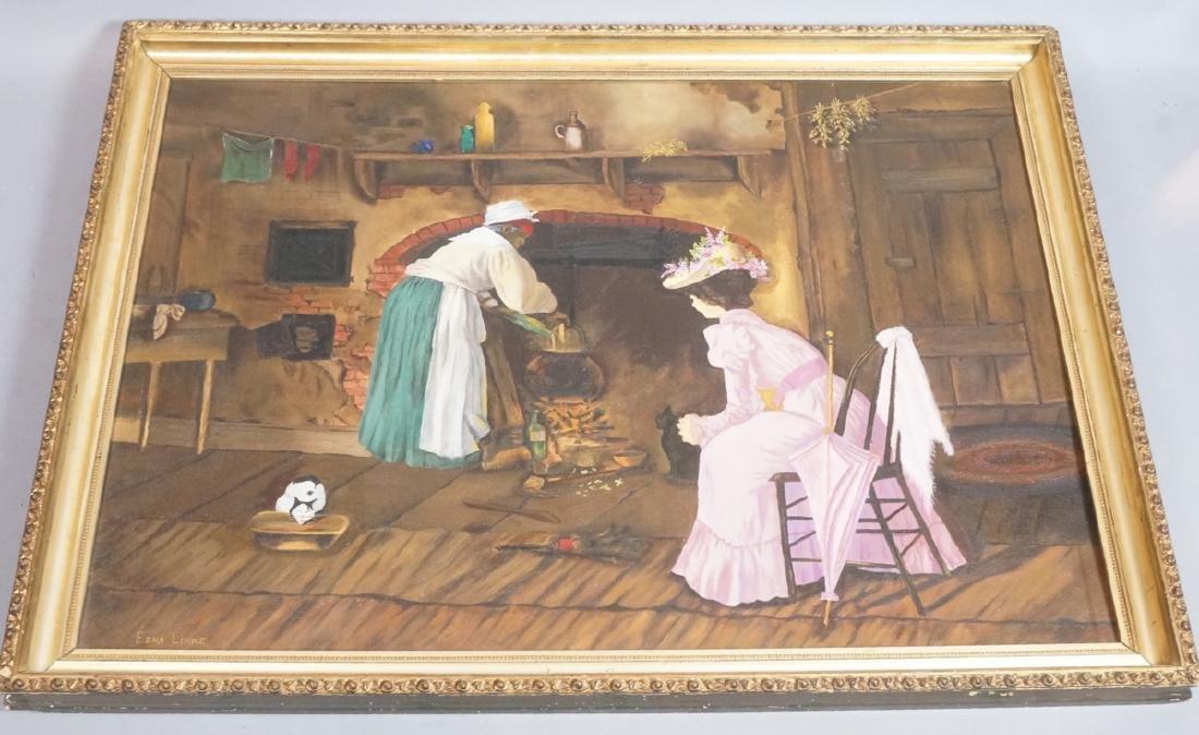 EDNA LINKE Oil Painting Genre Scene. Domestic wom