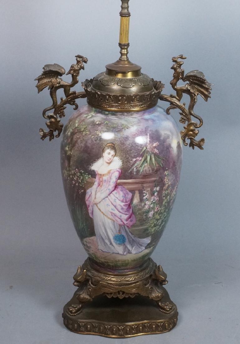 Antique Handpainted Porcelain Table Lamp. Bulbous
