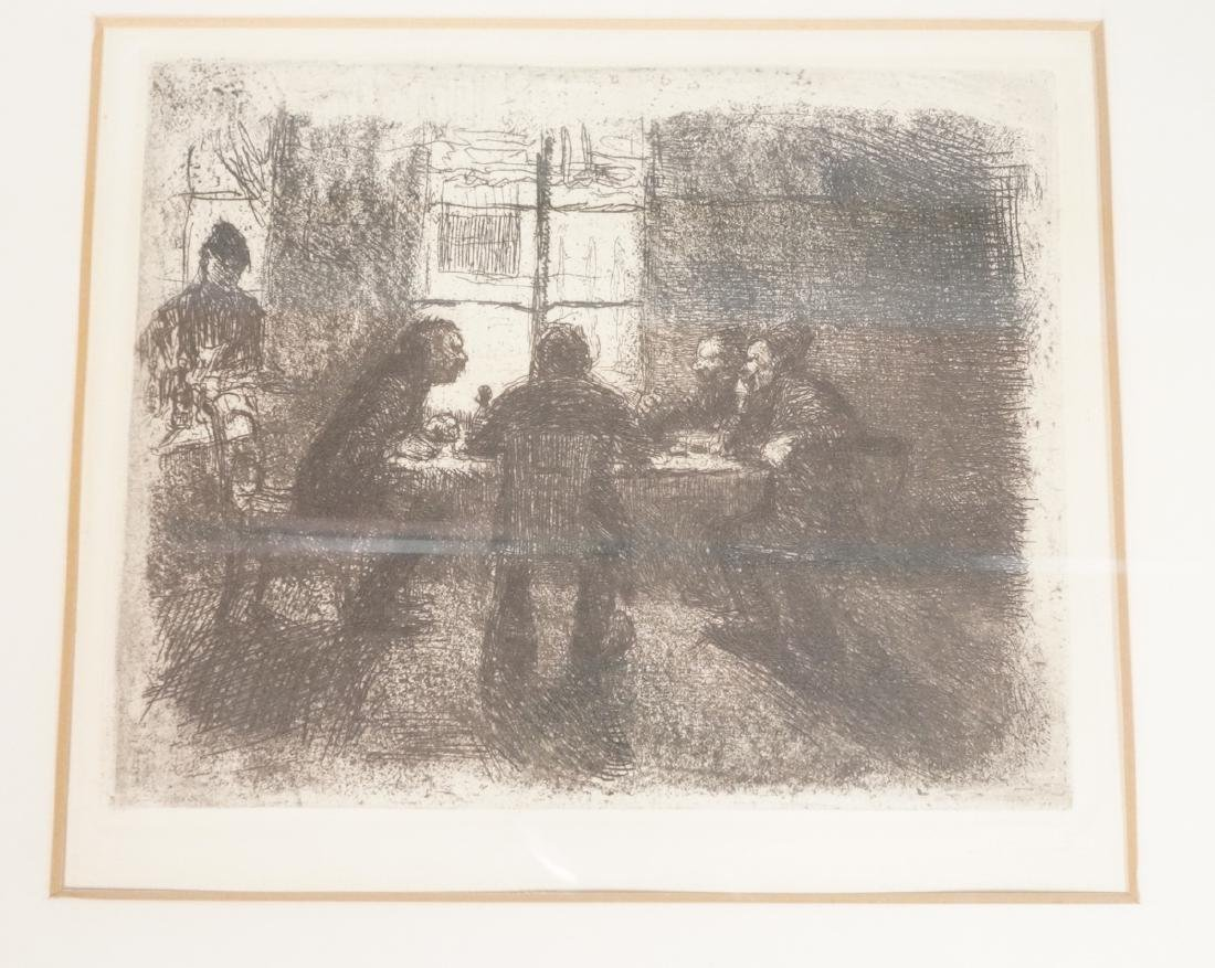 Vintage Engraving Print. Men at card table. Not s