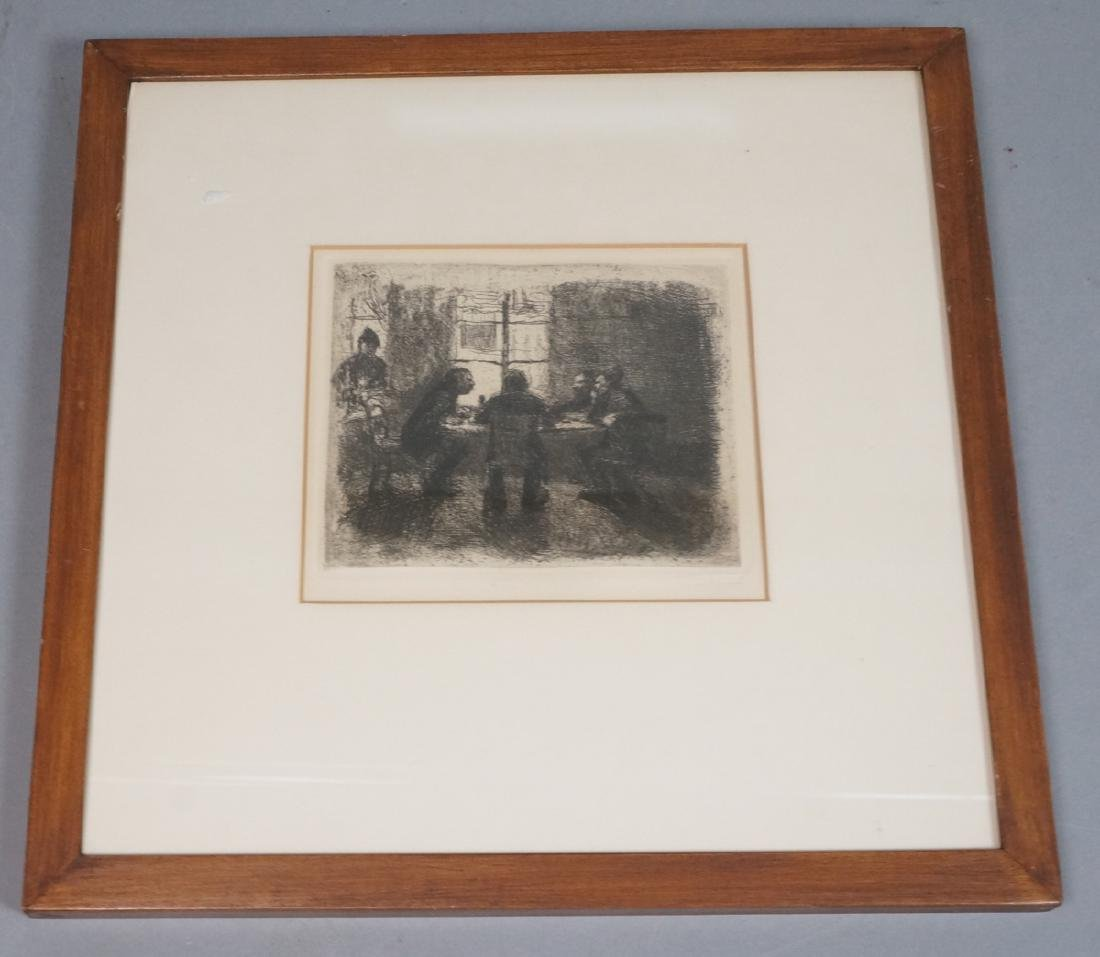 Vintage Engraving Print. Men at card table. Not s - 2