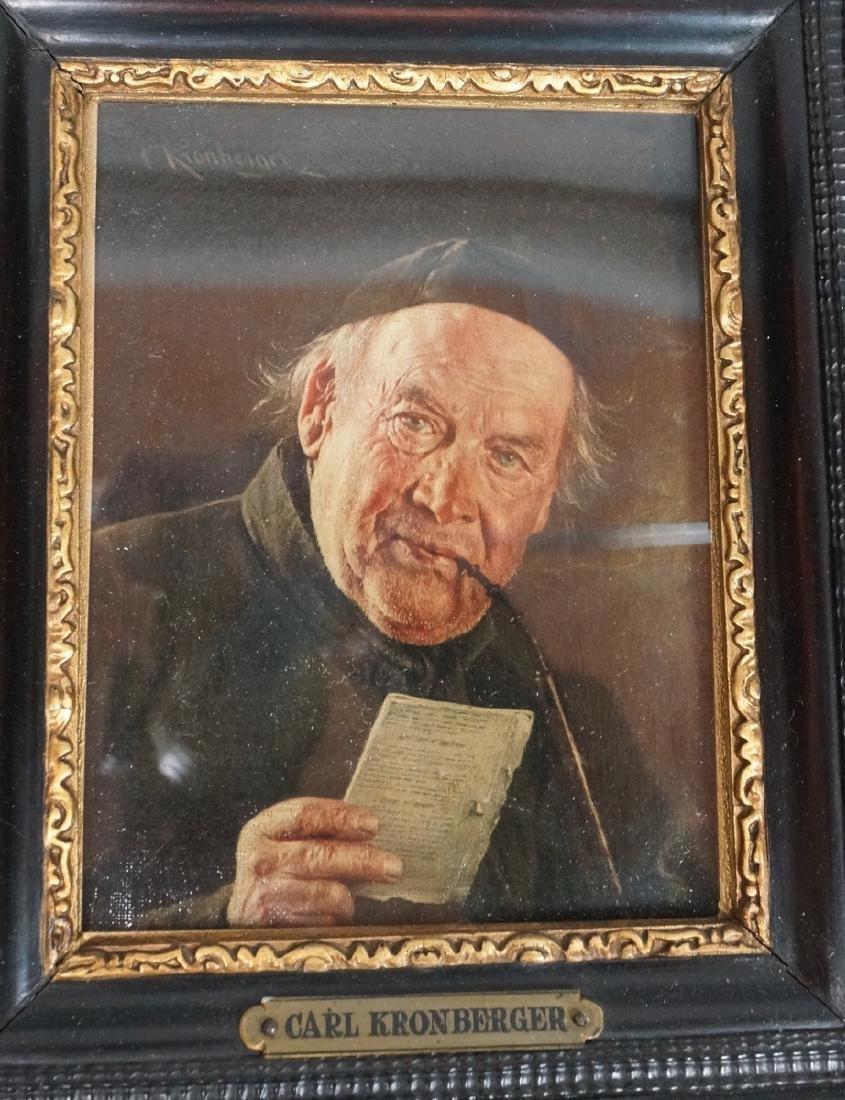 CARL KRONBERGER Oil Portrait of Man with Pipe; pr