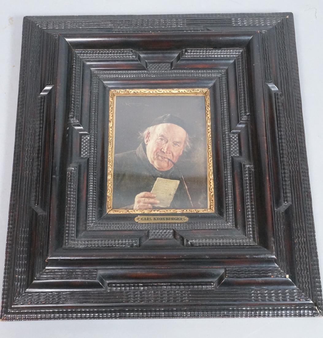 CARL KRONBERGER Oil Portrait of Man with Pipe; pr - 2