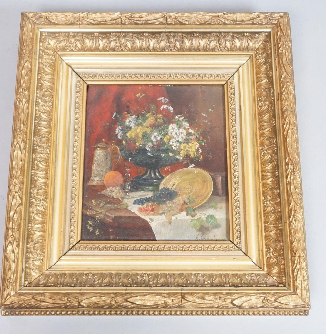 Signed Still Life Oil Painting. Elaborate antique
