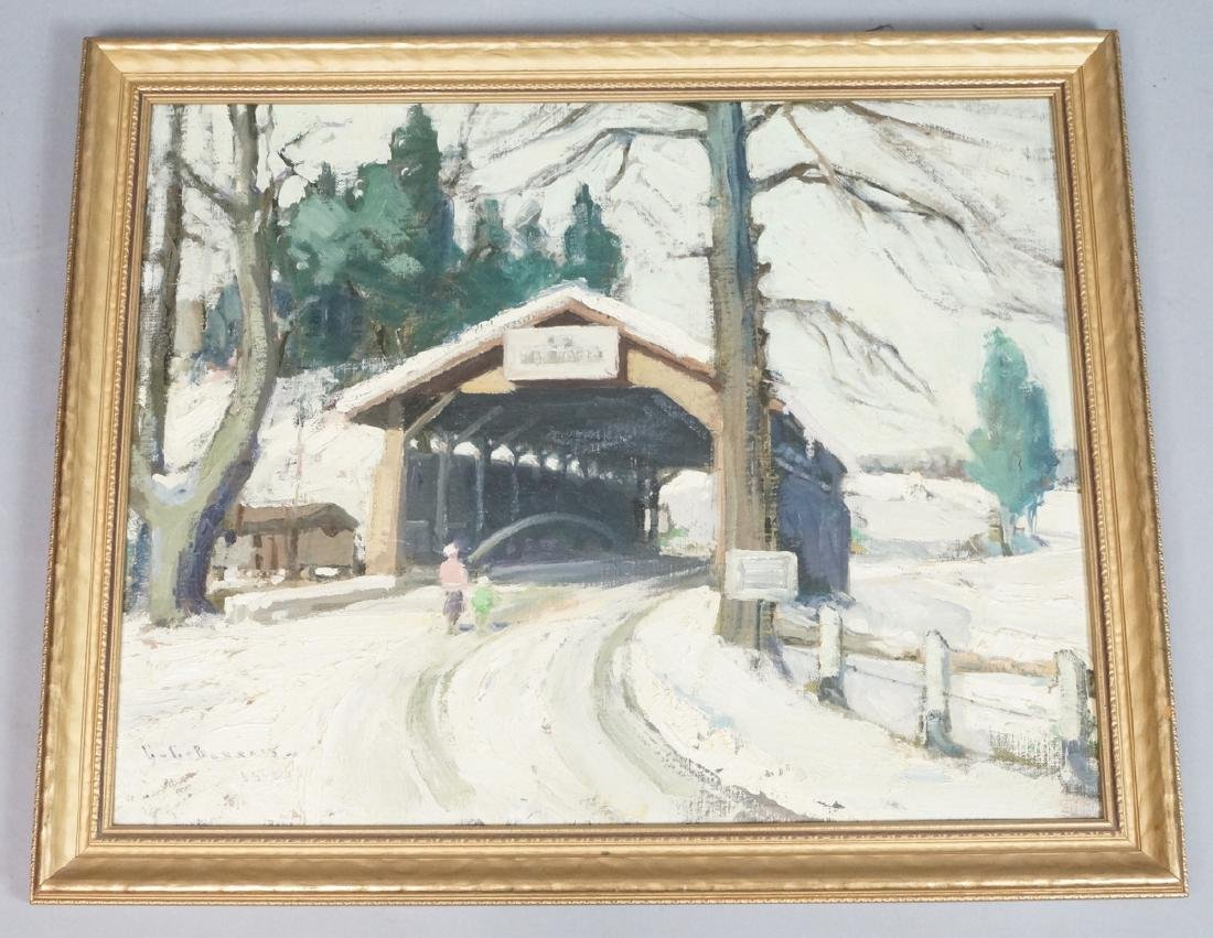 Signed Oil Painting Covered Bridge in Snowy Lands