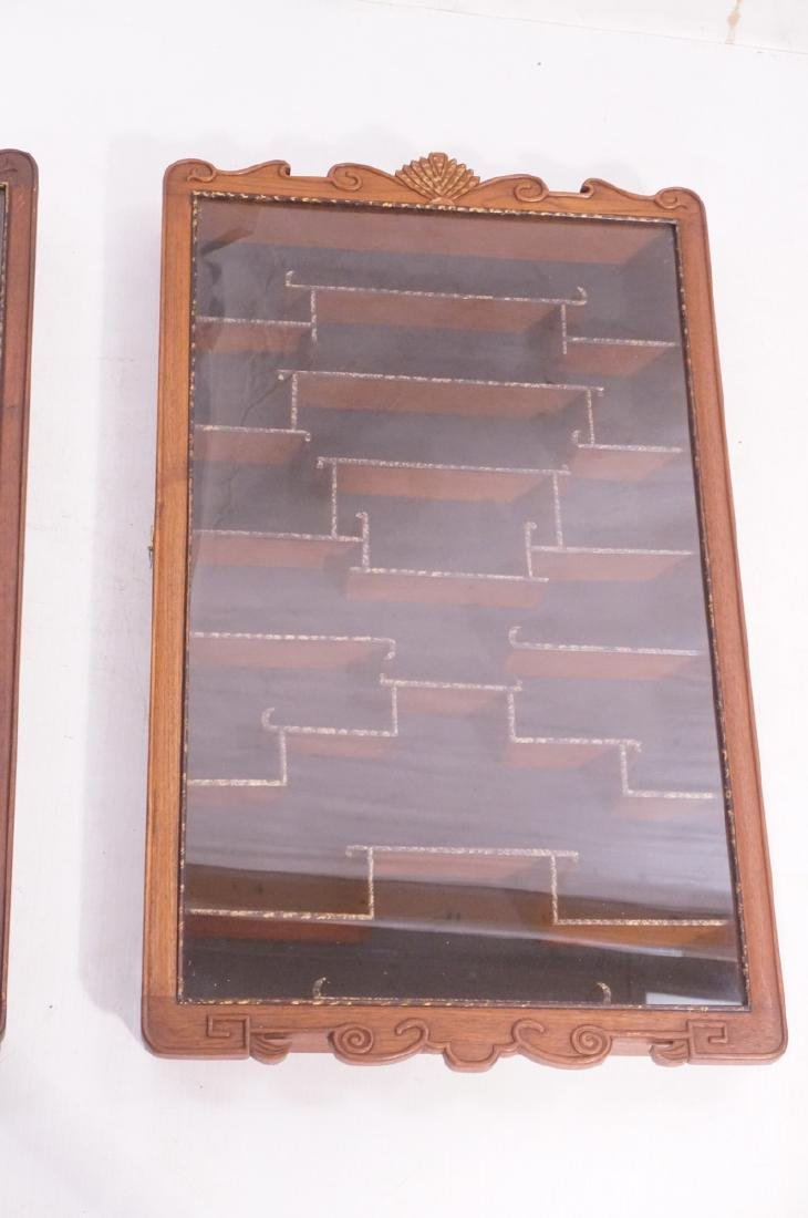 Pr Glass Front Asian Display Cabinets. Wall mount - 3