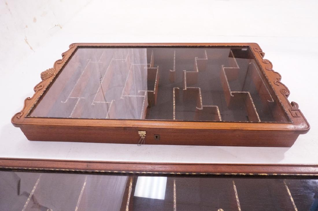 Pr Glass Front Asian Display Cabinets. Wall mount - 6