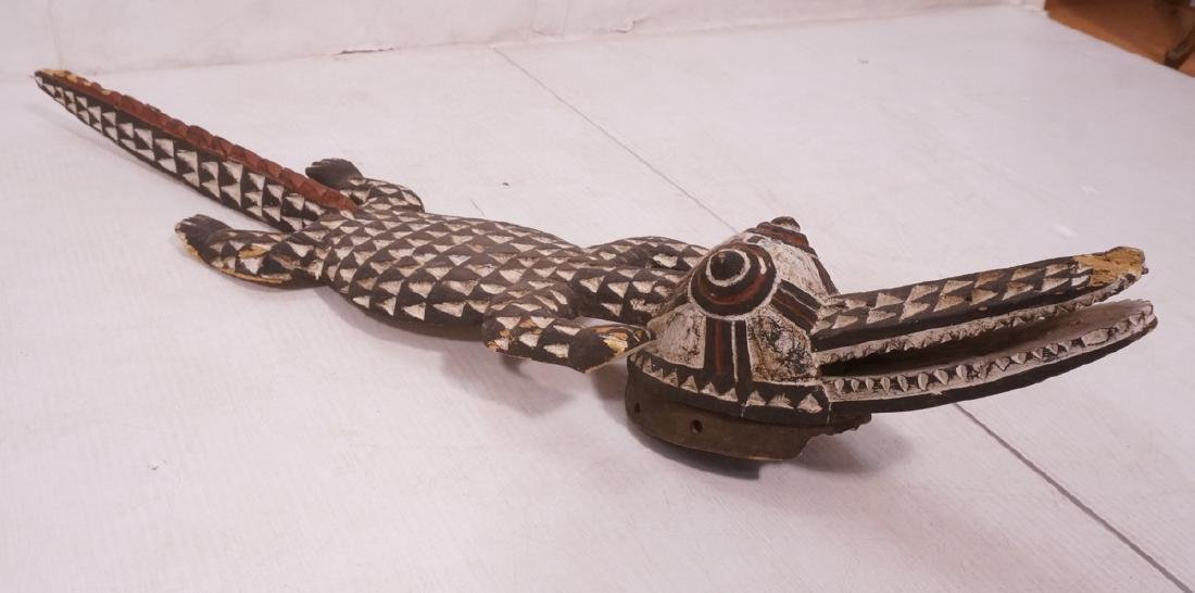 Borneo Carved Wood Alligator Sculpture. Texture c