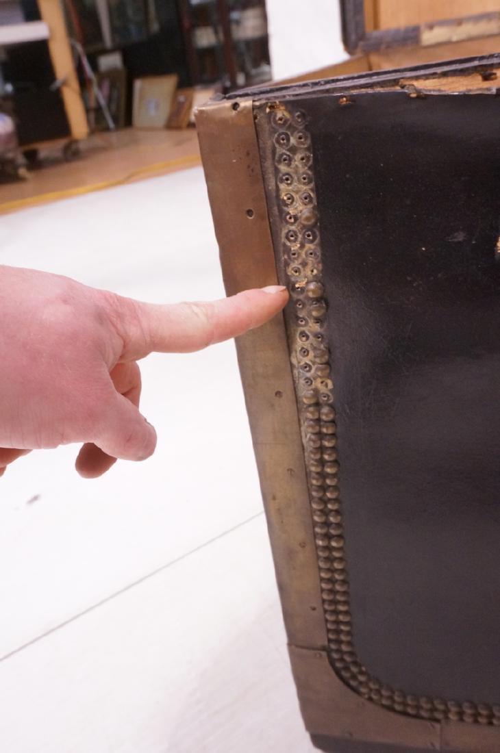 Vintage Brass & Black Leather Trunk Chest. Brass - 10