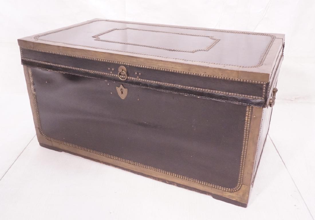 Vintage Brass & Black Leather Trunk Chest. Brass