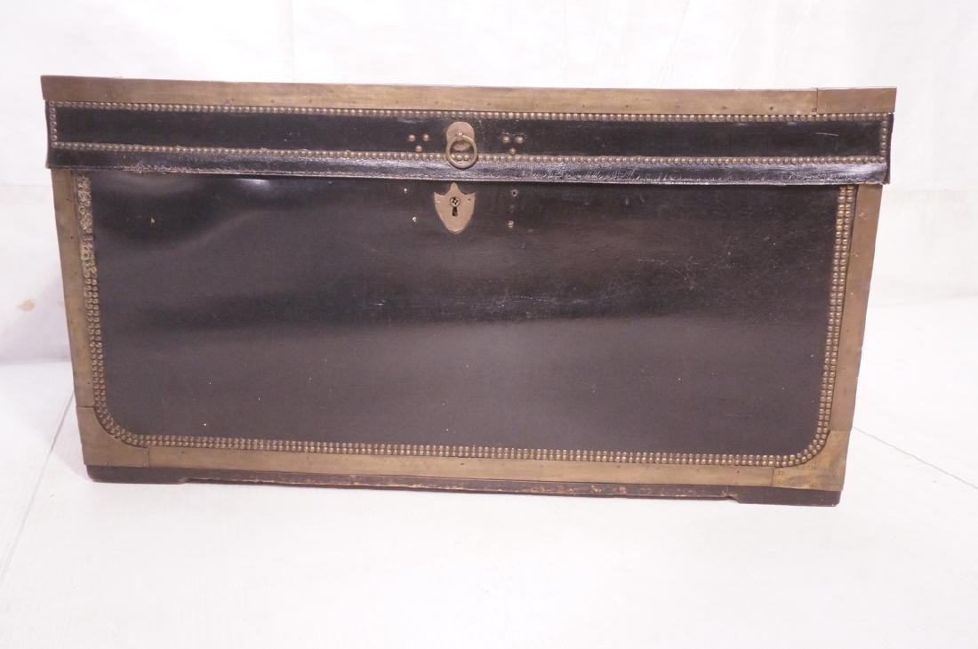 Vintage Brass & Black Leather Trunk Chest. Brass - 2