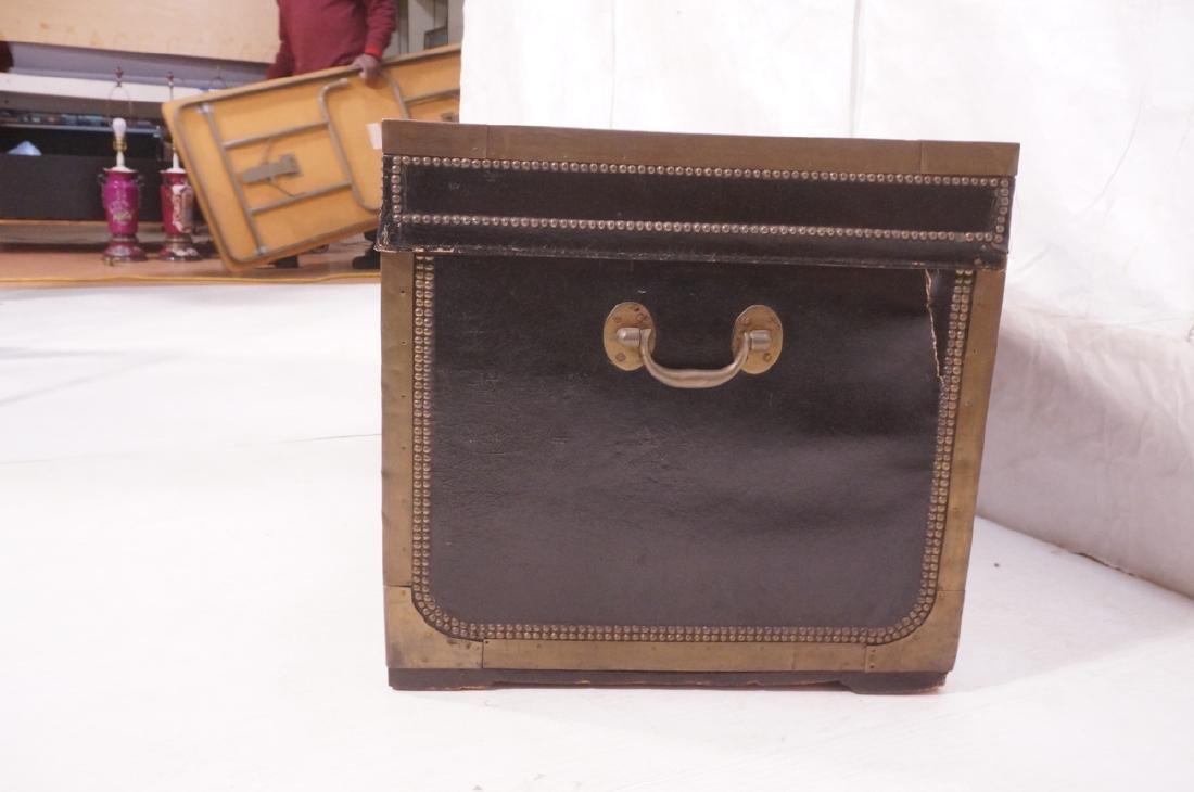 Vintage Brass & Black Leather Trunk Chest. Brass - 3