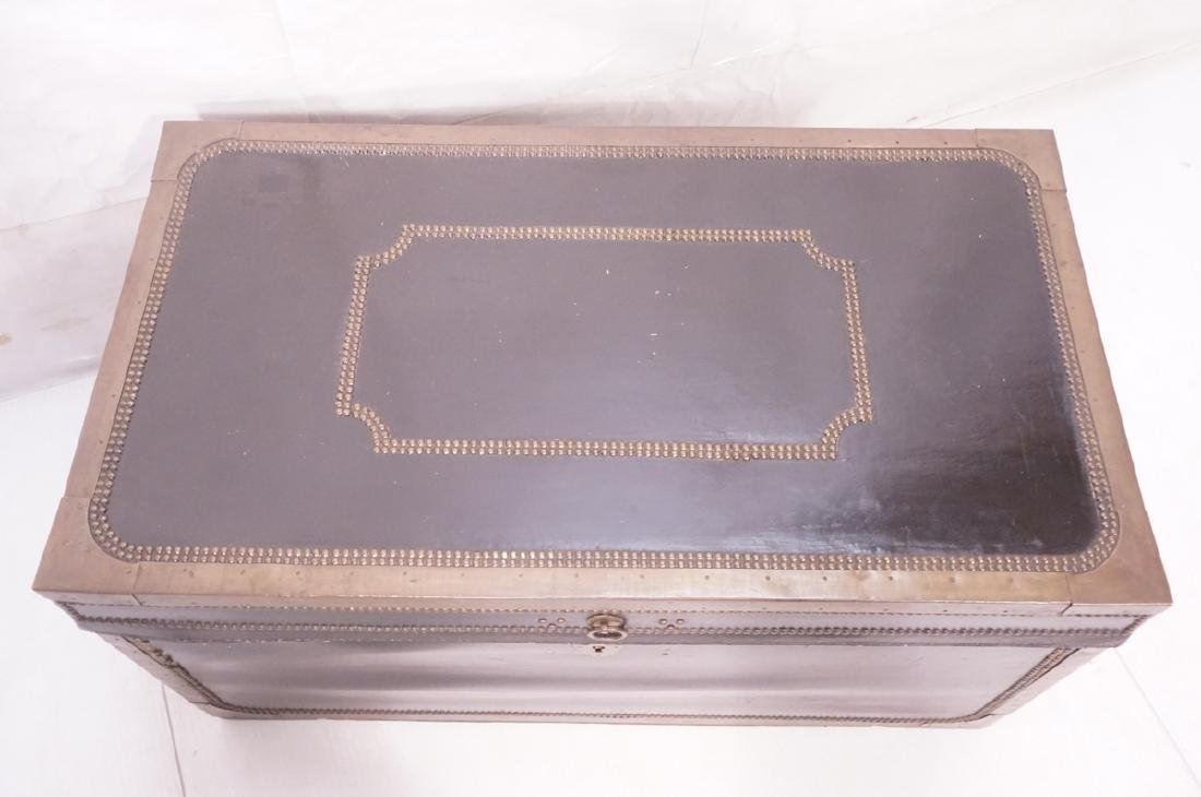 Vintage Brass & Black Leather Trunk Chest. Brass - 4