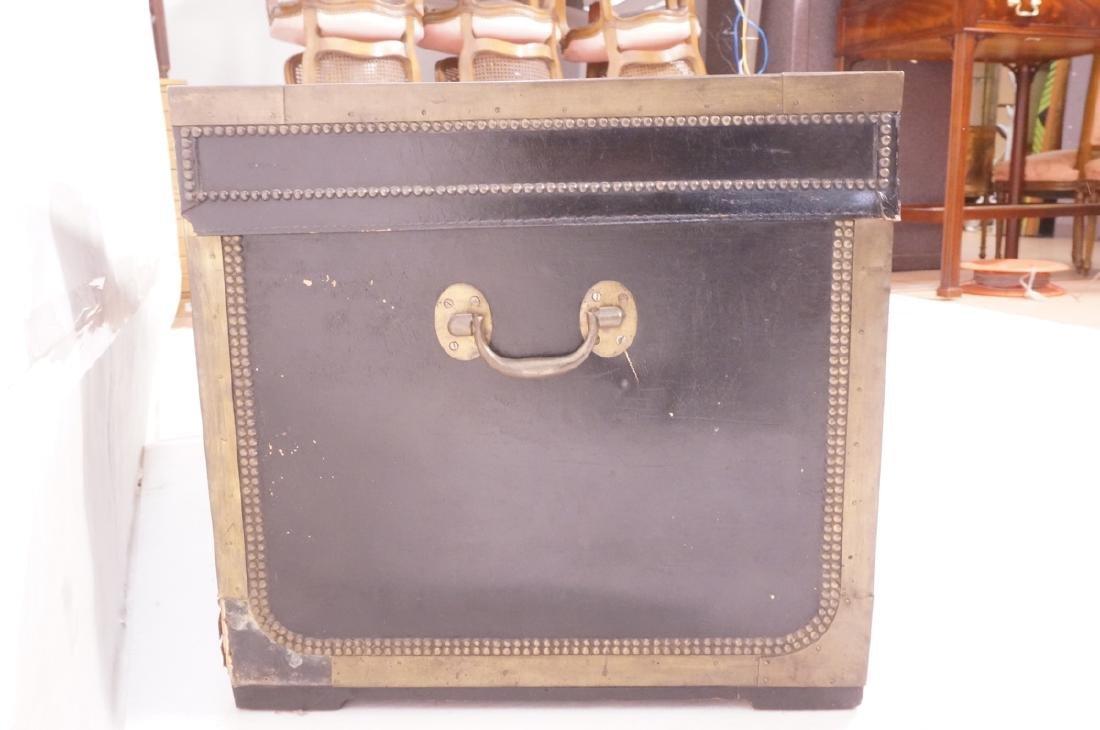 Vintage Brass & Black Leather Trunk Chest. Brass - 5