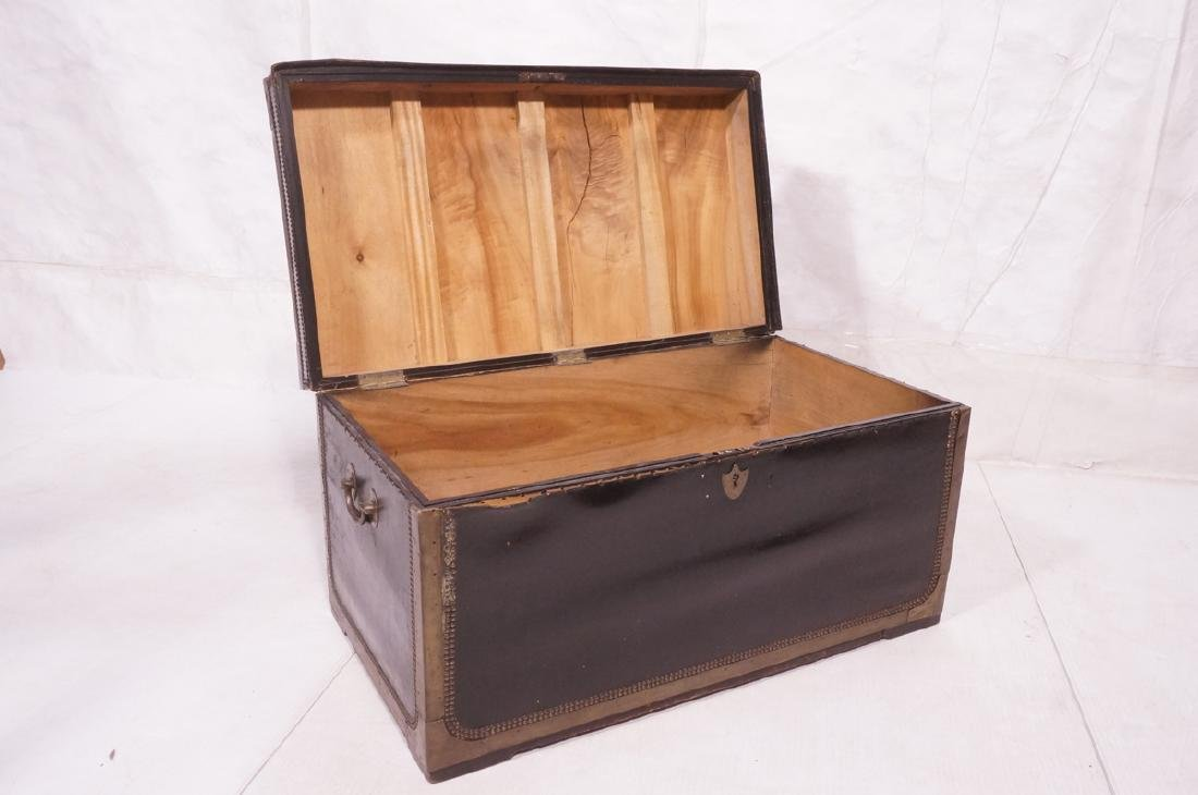 Vintage Brass & Black Leather Trunk Chest. Brass - 8