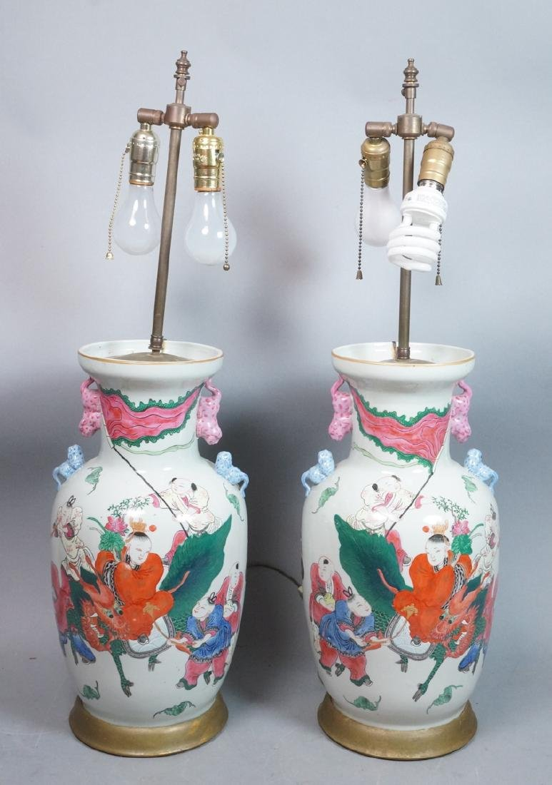 Pr Lg Chinese Polychrome Stoneware Table Lamps. L
