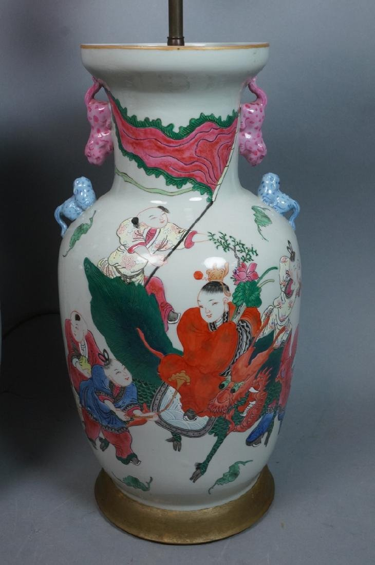 Pr Lg Chinese Polychrome Stoneware Table Lamps. L - 2