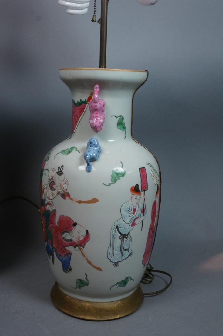 Pr Lg Chinese Polychrome Stoneware Table Lamps. L - 3