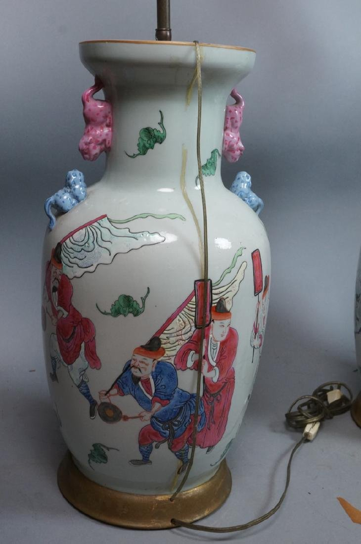 Pr Lg Chinese Polychrome Stoneware Table Lamps. L - 7
