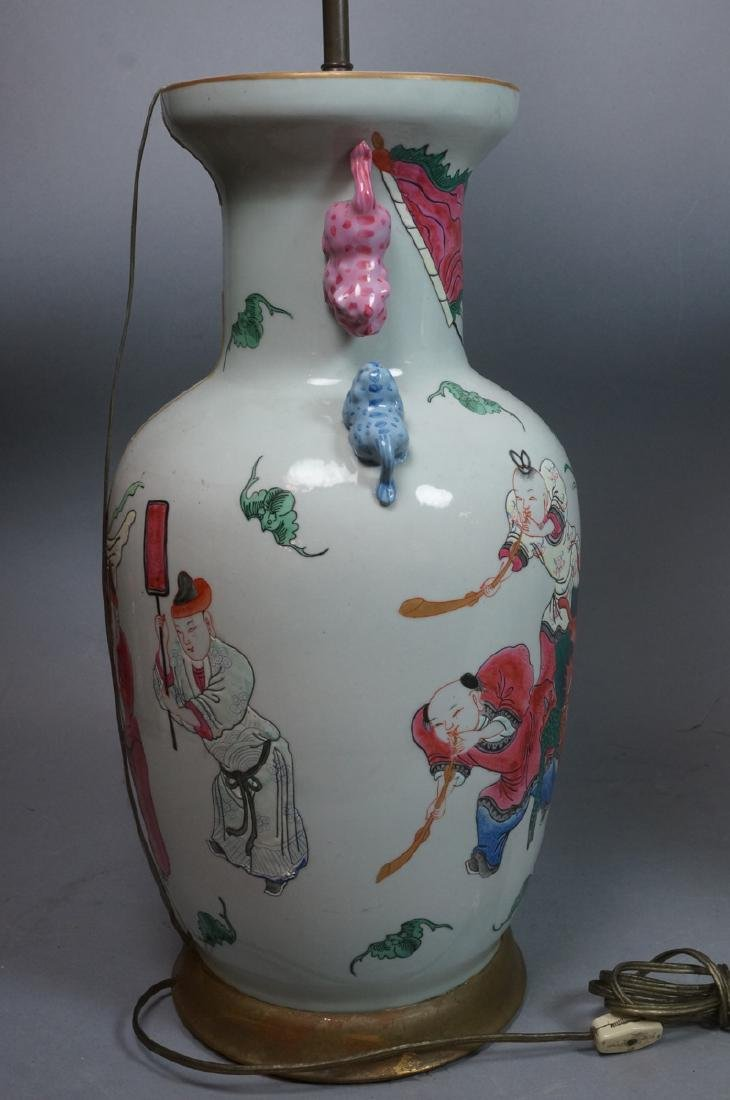 Pr Lg Chinese Polychrome Stoneware Table Lamps. L - 8