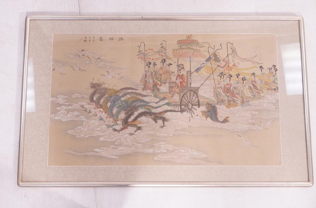 Vintage Chinese Hand painted Processional Paintin - 2