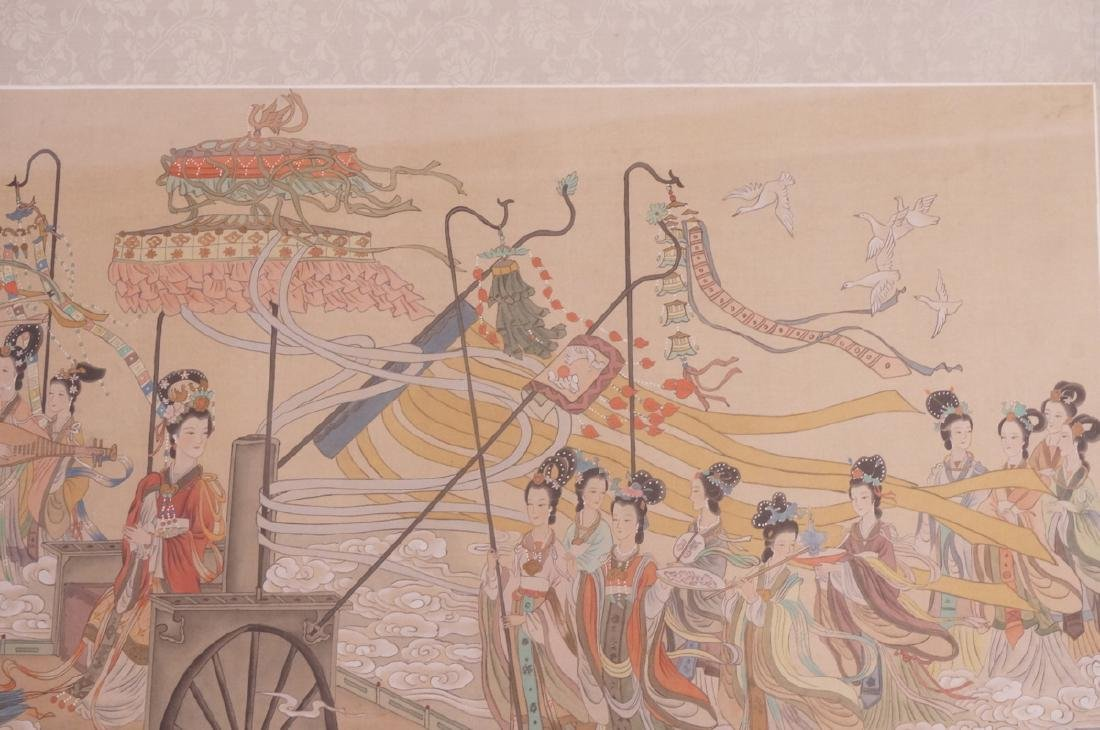 Vintage Chinese Hand painted Processional Paintin - 6