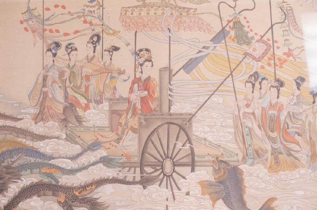 Vintage Chinese Hand painted Processional Paintin - 7