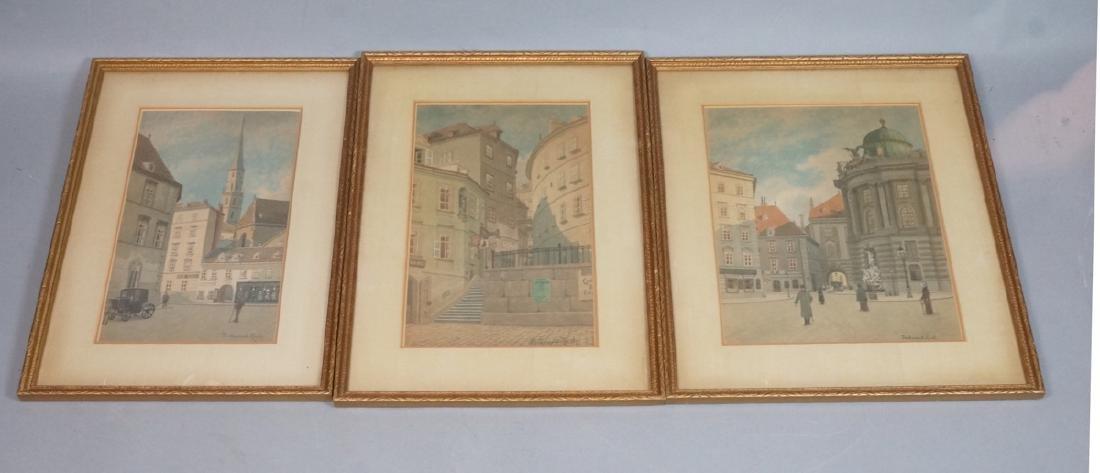 3pc FERDINAND ZACH Urban Watercolor. Austrian tow