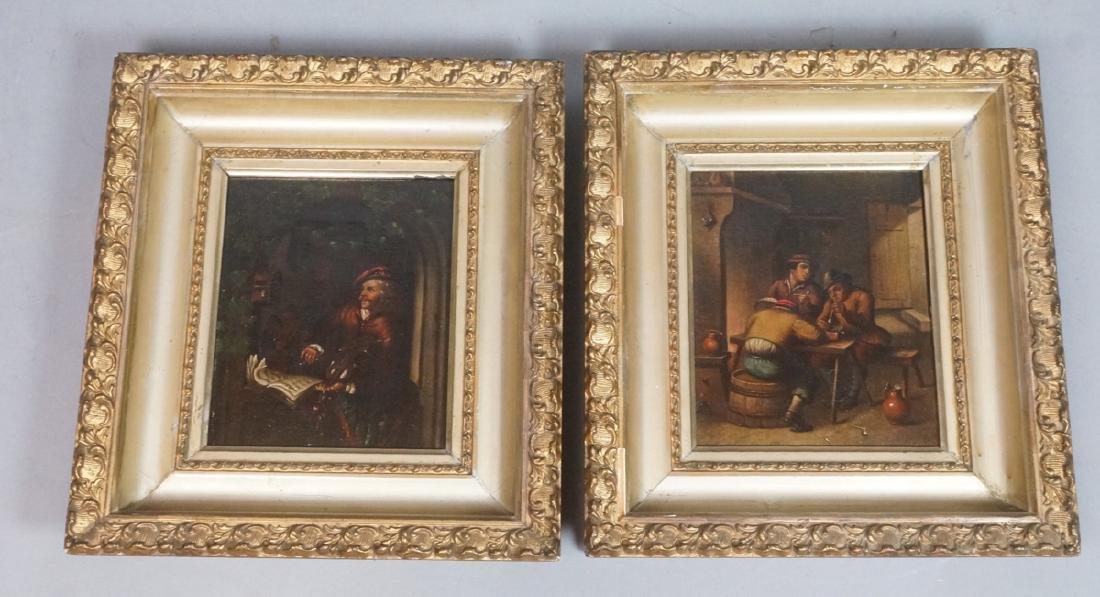 2pc 19th Century Oil Paintings. Genre scenes. Int