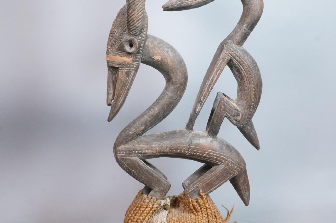 Lg Carved Wood African Sculpture. 2 long horn gaz - 3