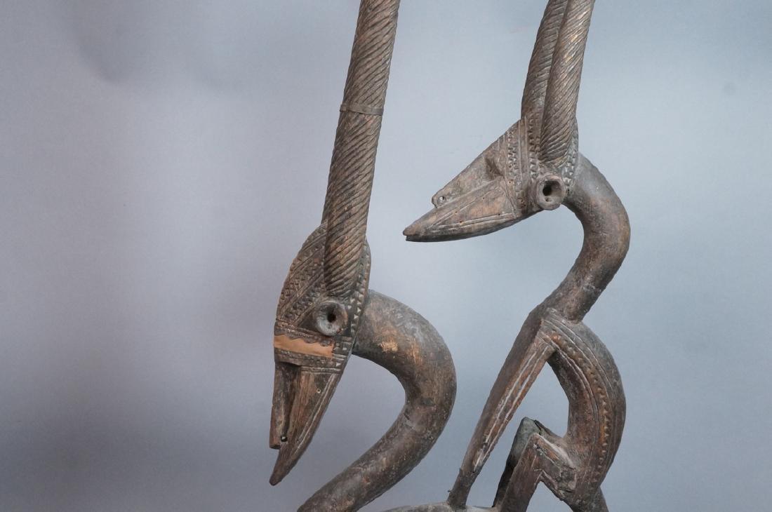 Lg Carved Wood African Sculpture. 2 long horn gaz - 4