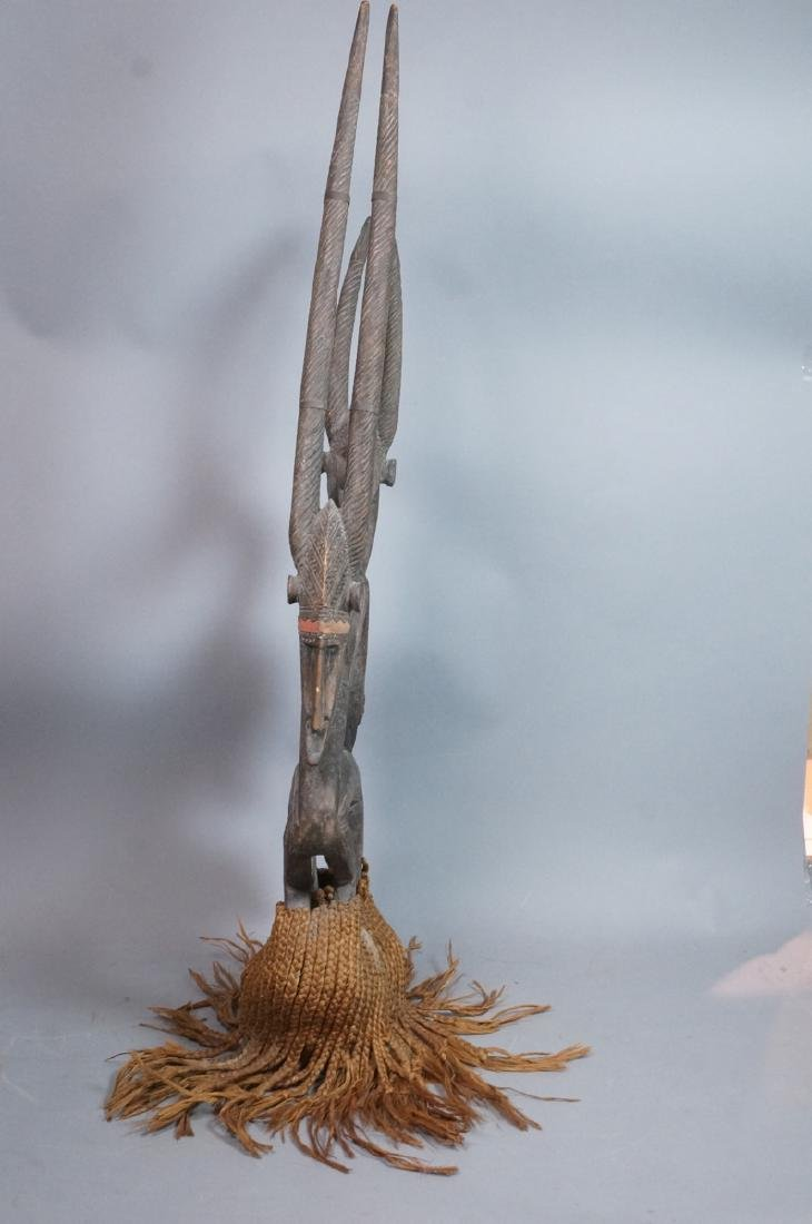 Lg Carved Wood African Sculpture. 2 long horn gaz - 5