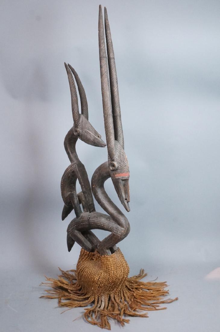 Lg Carved Wood African Sculpture. 2 long horn gaz - 6