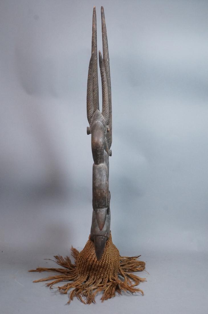 Lg Carved Wood African Sculpture. 2 long horn gaz - 7