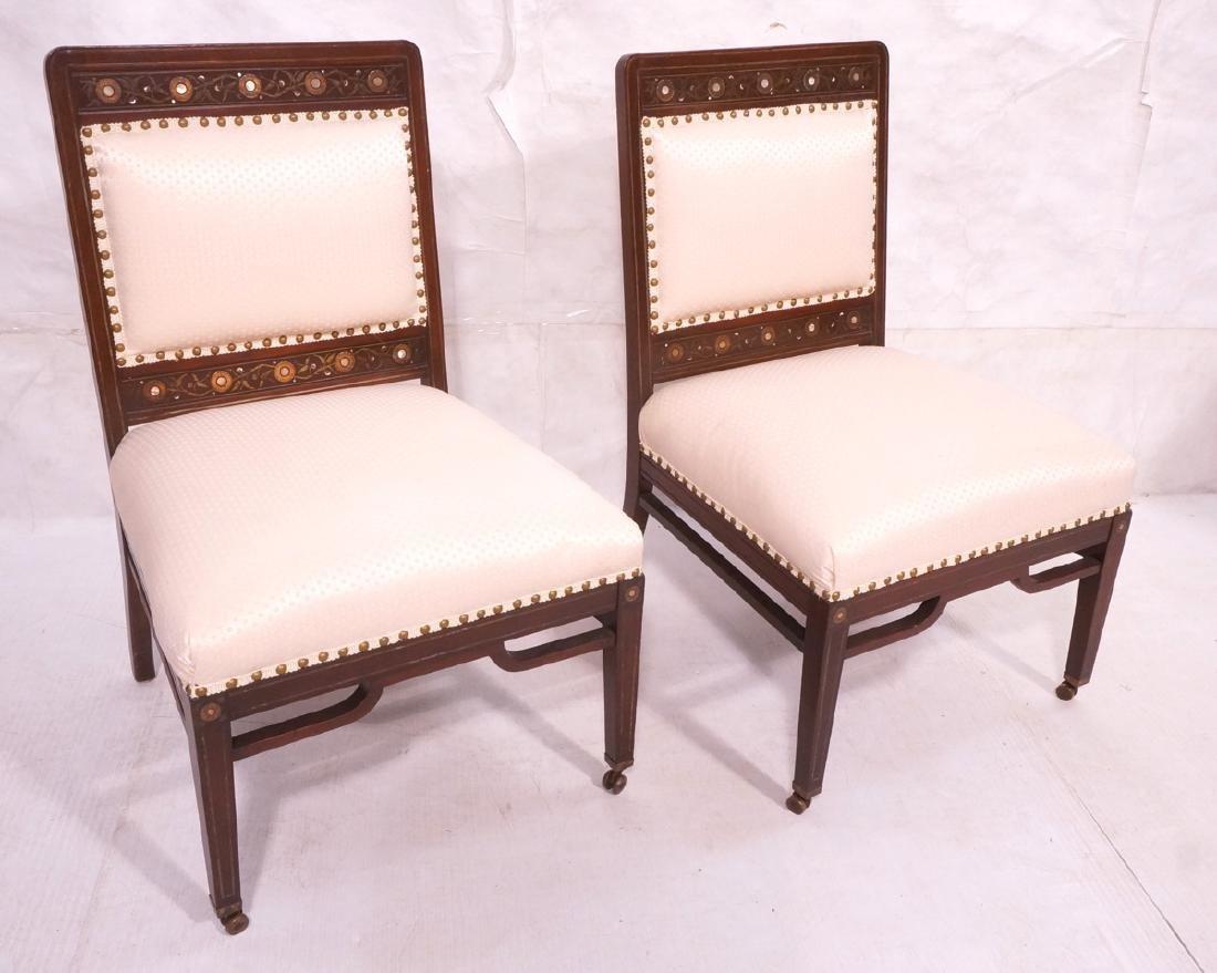 Pr Victorian Walnut Inlaid Side Slipper Chairs. W