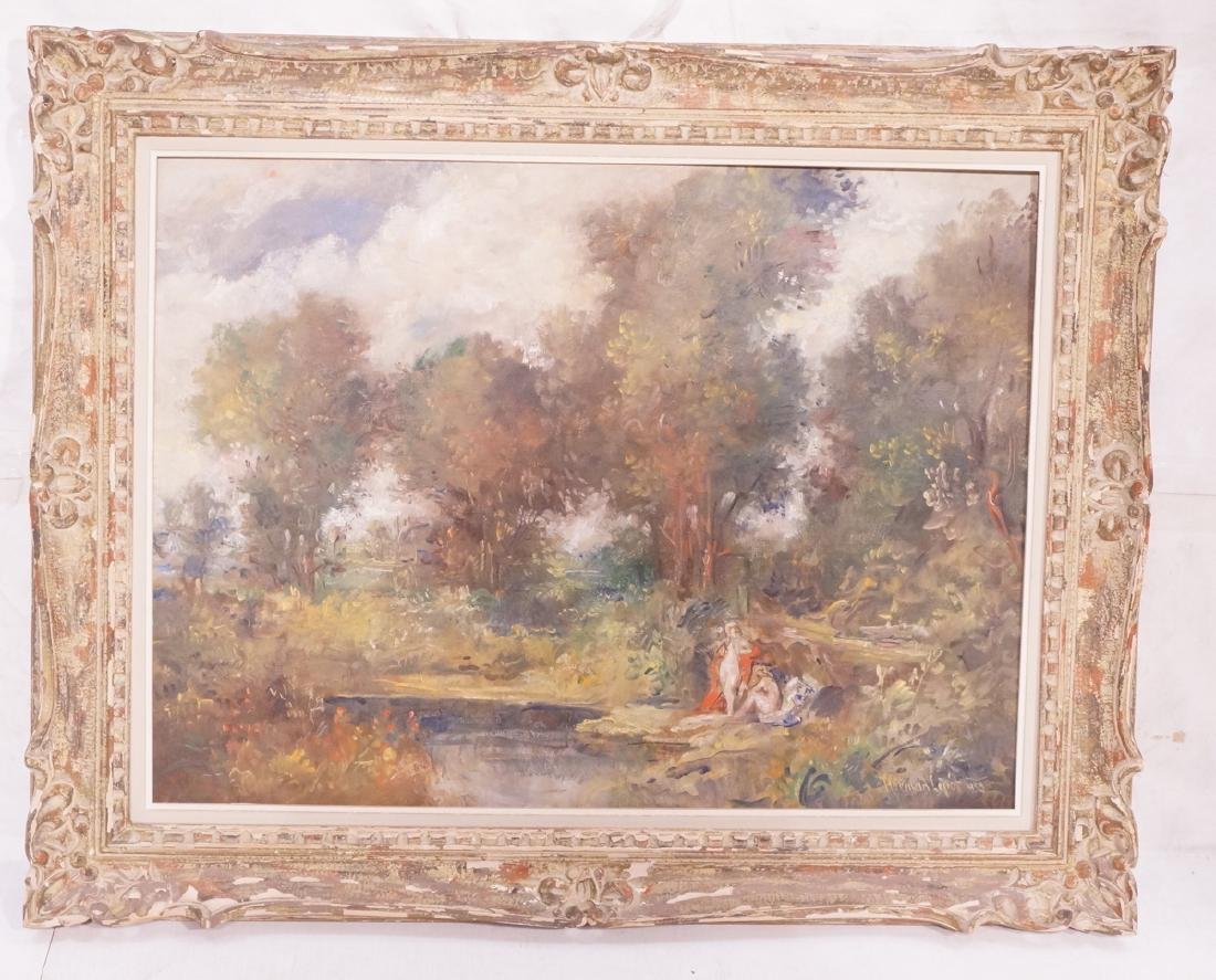 HERMAN LITOT Oil Painting Lush Landscape with 2 F