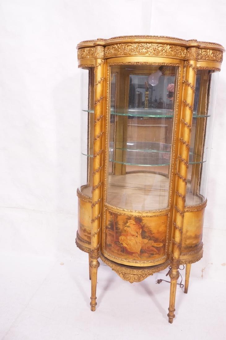 Antique VERNIS MARTIN Bowed Glass Vitrine Curio C - 2