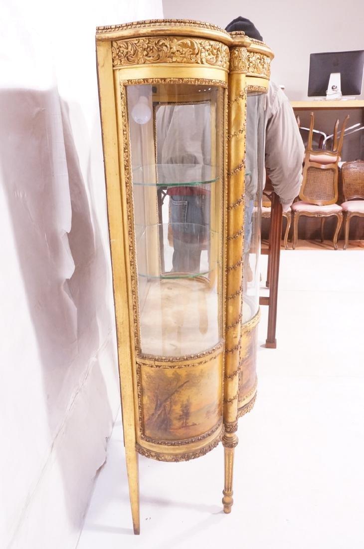 Antique VERNIS MARTIN Bowed Glass Vitrine Curio C - 3