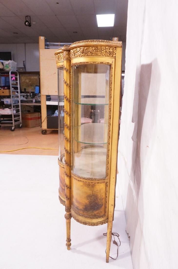 Antique VERNIS MARTIN Bowed Glass Vitrine Curio C - 4