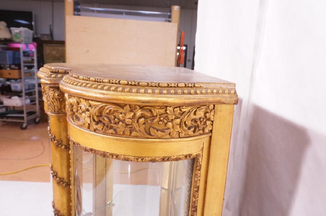 Antique VERNIS MARTIN Bowed Glass Vitrine Curio C - 5