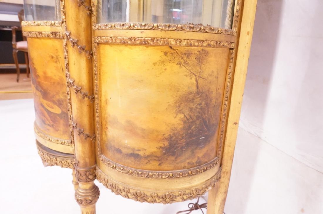 Antique VERNIS MARTIN Bowed Glass Vitrine Curio C - 6