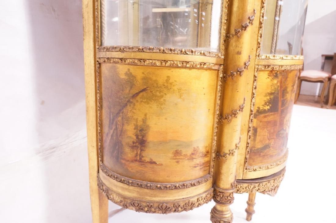 Antique VERNIS MARTIN Bowed Glass Vitrine Curio C - 8