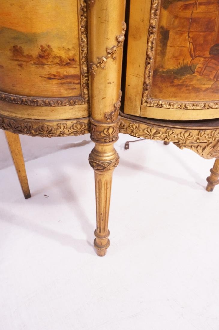 Antique VERNIS MARTIN Bowed Glass Vitrine Curio C - 9