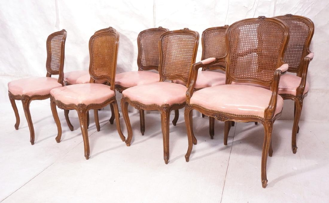 8 French Style Dining Chairs. Cane back on carved