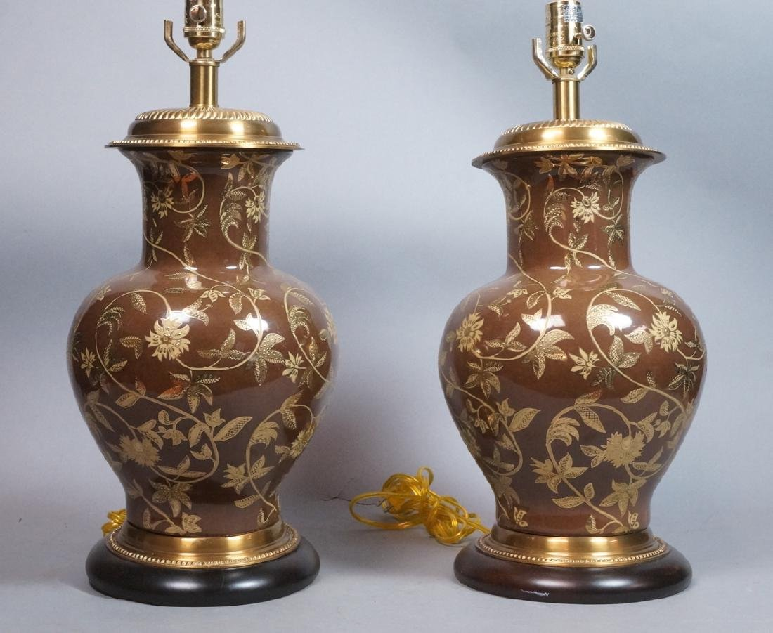 Pr FREDERICK COOPER Brown Urn Form Table Lamps. A